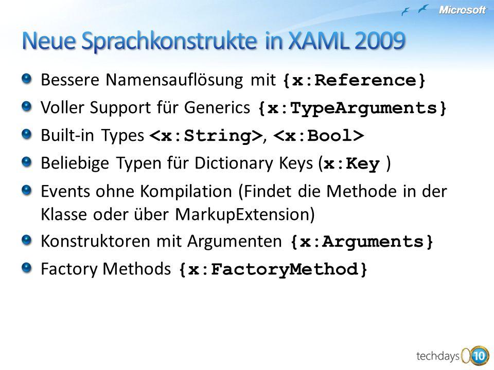 Bessere Namensauflösung mit {x:Reference} Voller Support für Generics {x:TypeArguments} Built-in Types, Beliebige Typen für Dictionary Keys ( x:Key )