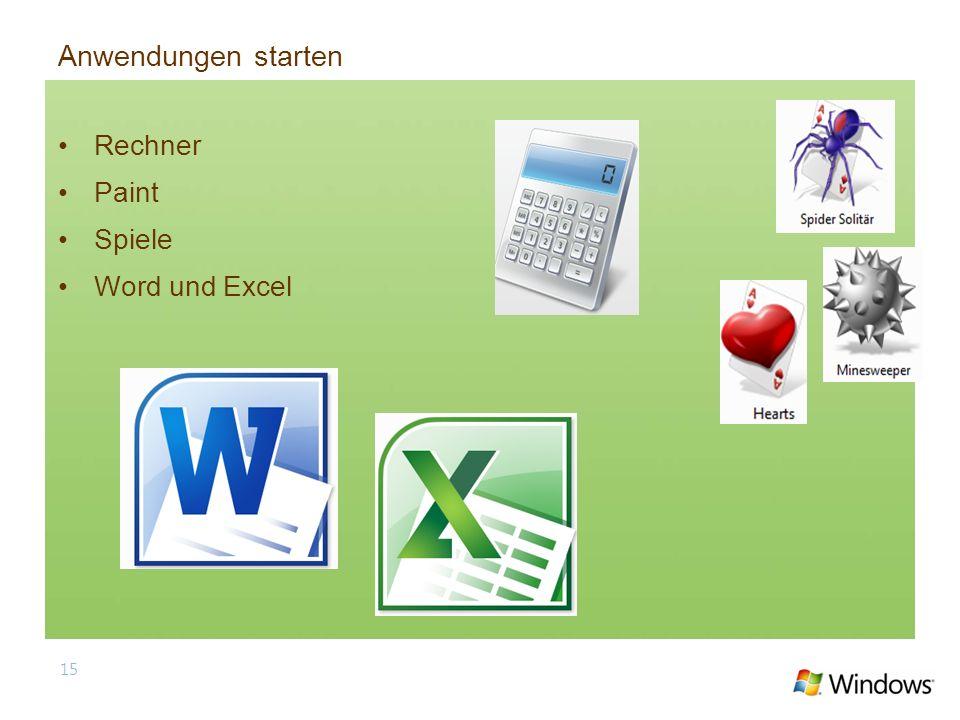 Rechner Paint Spiele Word und Excel 15