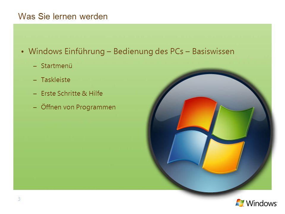 3 Was Sie lernen werden Windows Einführung – Bedienung des PCs – Basiswissen –Startmenü –Taskleiste –Erste Schritte & Hilfe –Öffnen von Programmen