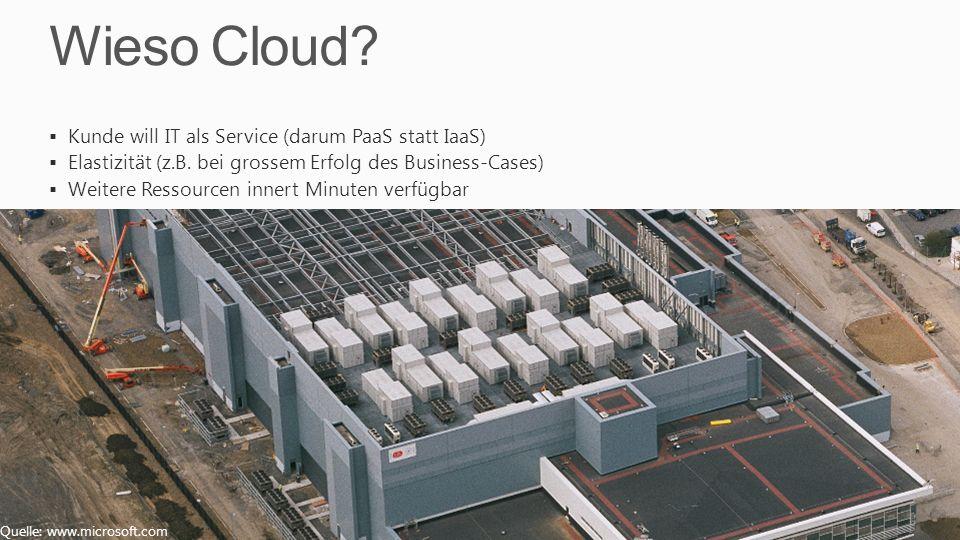 Wieso Cloud? Kunde will IT als Service (darum PaaS statt IaaS) Elastizität (z.B. bei grossem Erfolg des Business-Cases) Weitere Ressourcen innert Minu