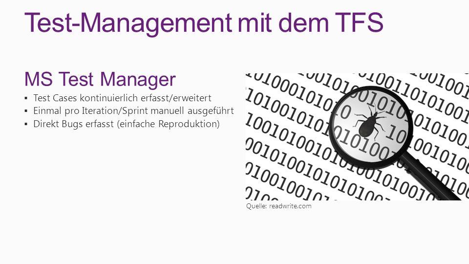 Test-Management mit dem TFS MS Test Manager Test Cases kontinuierlich erfasst/erweitert Einmal pro Iteration/Sprint manuell ausgeführt Direkt Bugs erf