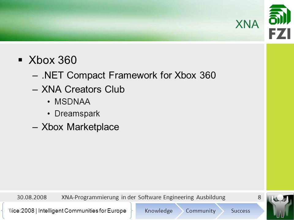 \\ice:2008 | Intelligent Communities for Europe Screenshot (Second Course) 30.08.200819XNA-Programmierung in der Software Engineering Ausbildung