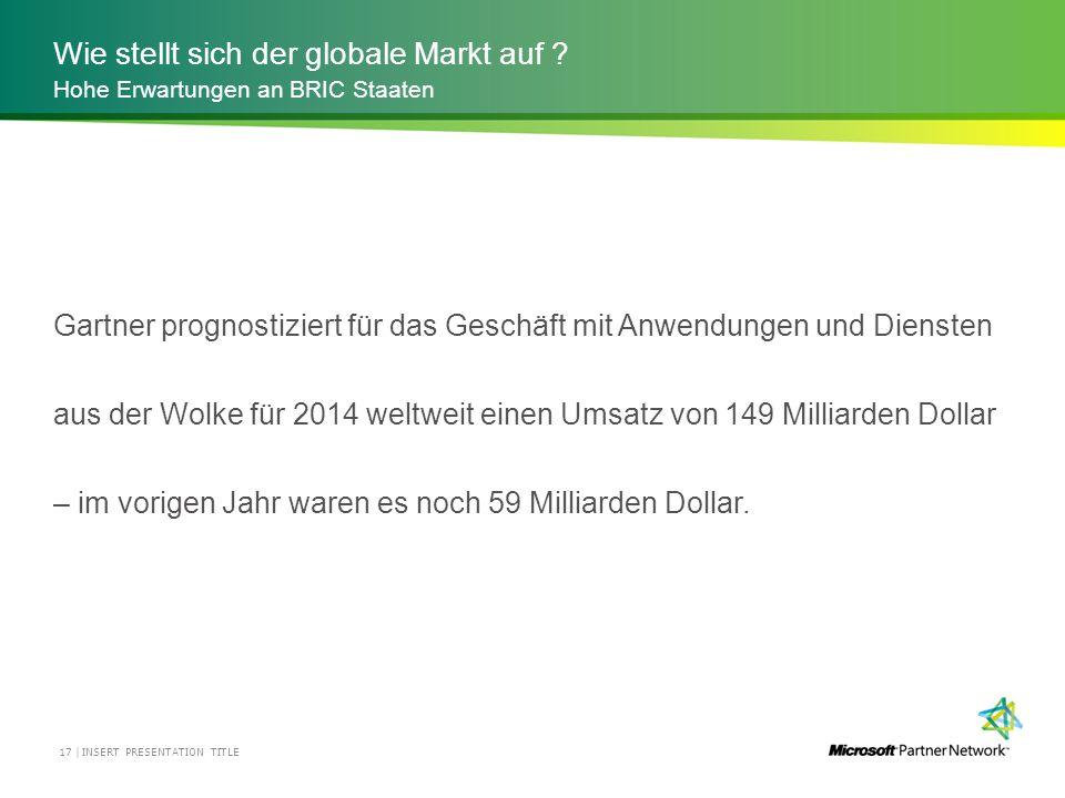 Wie stellt sich der globale Markt auf ? INSERT PRESENTATION TITLE17 | Hohe Erwartungen an BRIC Staaten Gartner prognostiziert für das Geschäft mit Anw