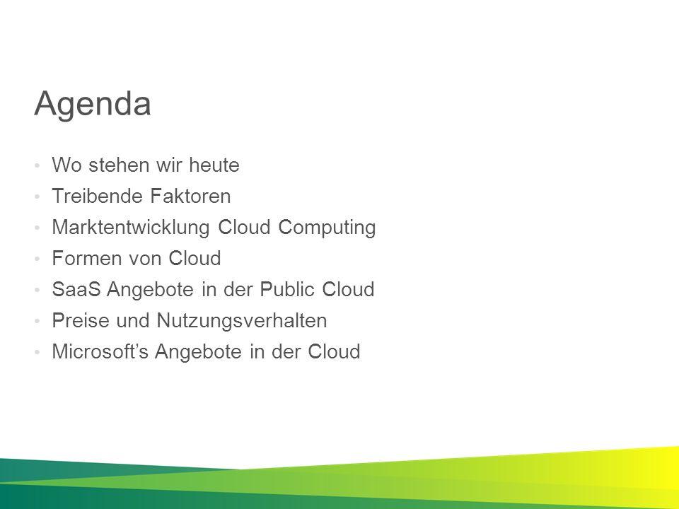 Agenda Wo stehen wir heute Treibende Faktoren Marktentwicklung Cloud Computing Formen von Cloud SaaS Angebote in der Public Cloud Preise und Nutzungsv