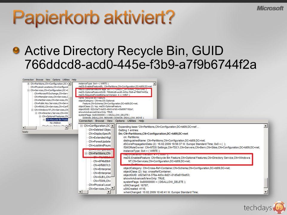 Active Directory Recycle Bin, GUID 766ddcd8-acd0-445e-f3b9-a7f9b6744f2a