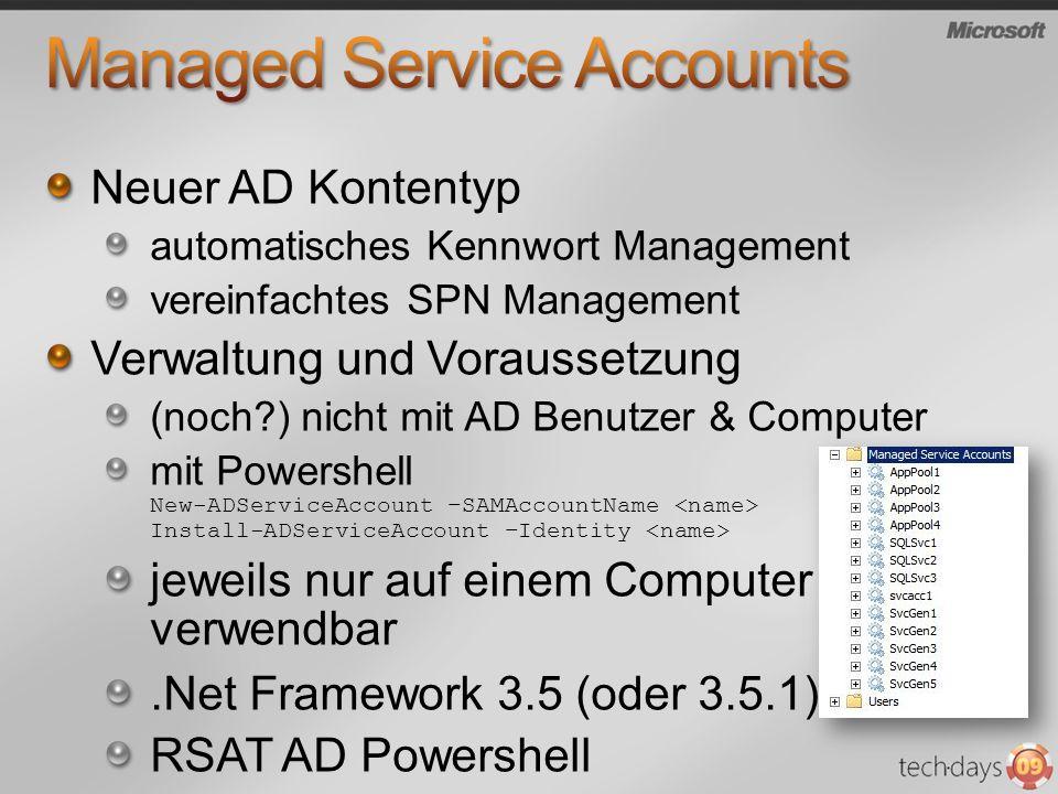 Neuer AD Kontentyp automatisches Kennwort Management vereinfachtes SPN Management Verwaltung und Voraussetzung (noch?) nicht mit AD Benutzer & Compute
