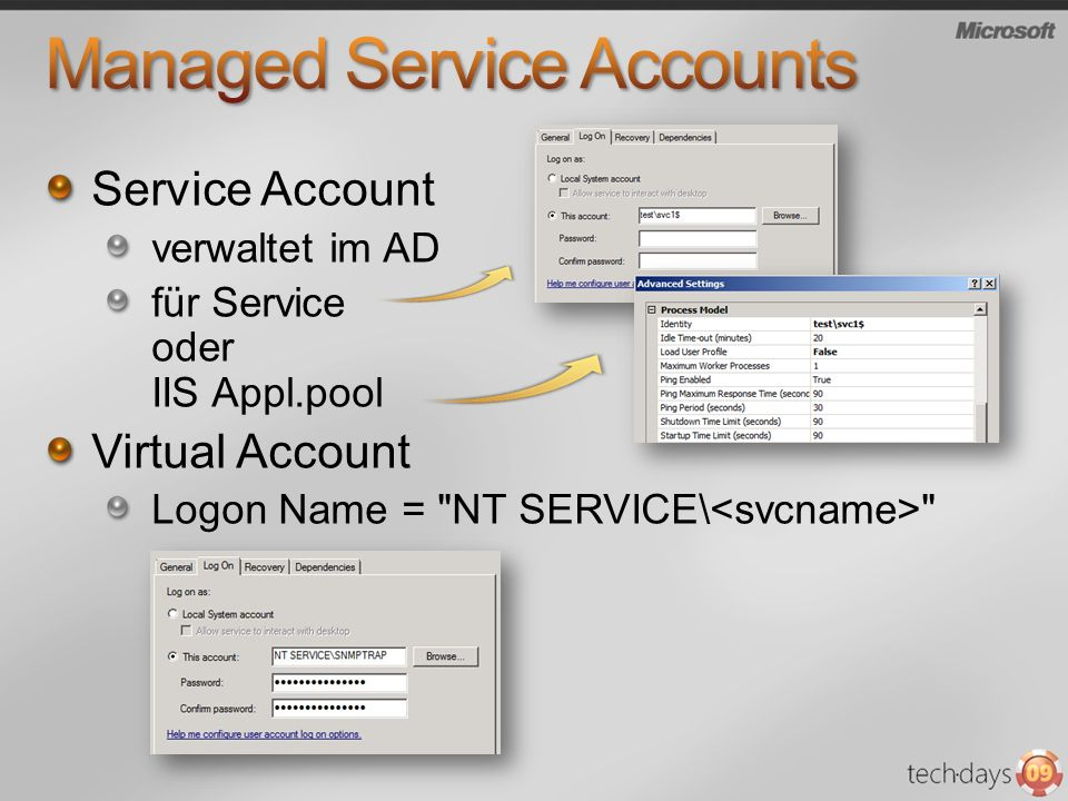 Service Account verwaltet im AD für Service oder IIS Appl.pool Virtual Account Logon Name =