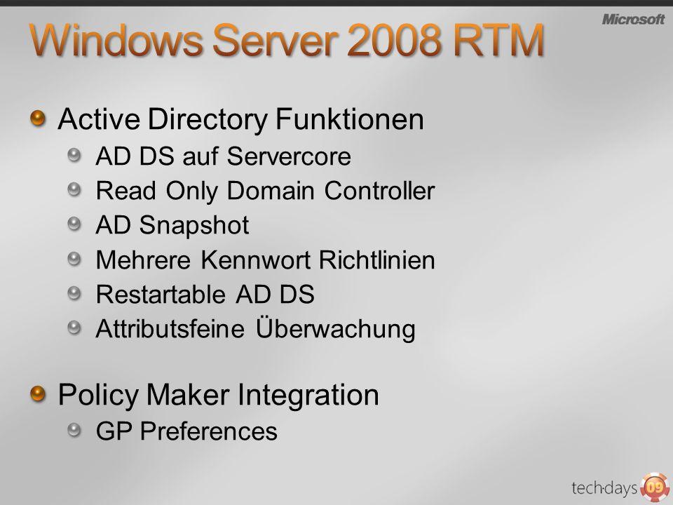 Active Directory Funktionen AD DS auf Servercore Read Only Domain Controller AD Snapshot Mehrere Kennwort Richtlinien Restartable AD DS Attributsfeine