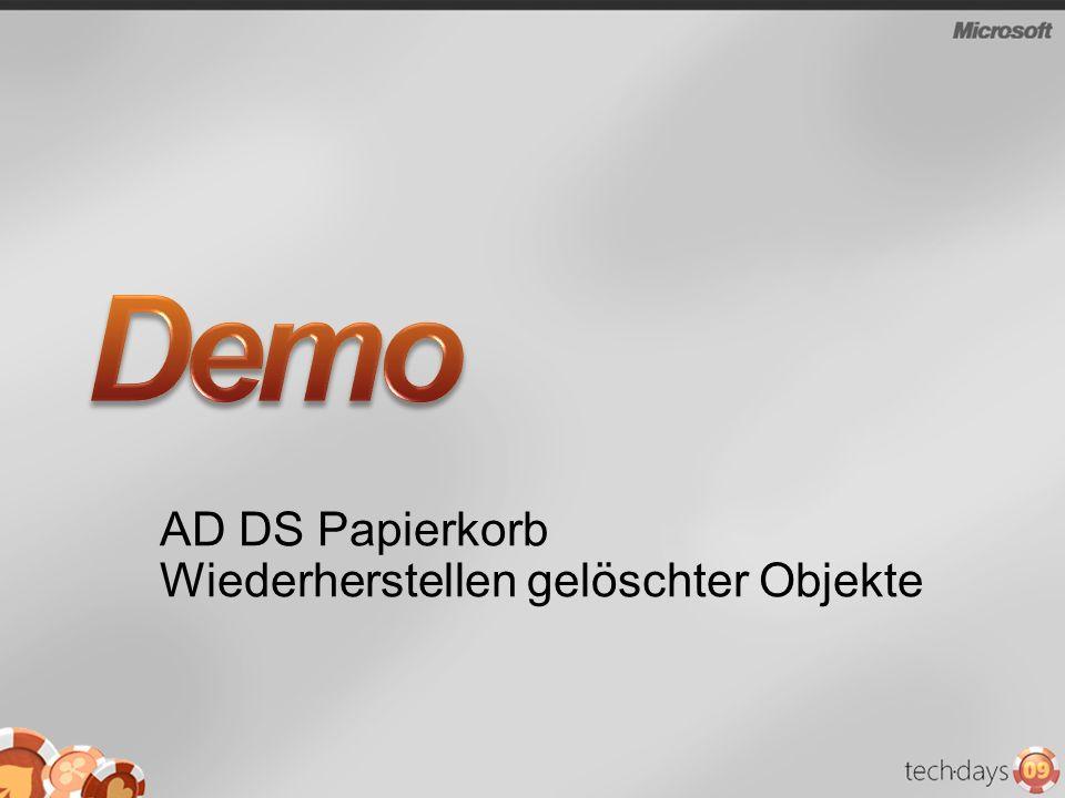 AD DS Papierkorb Wiederherstellen gelöschter Objekte