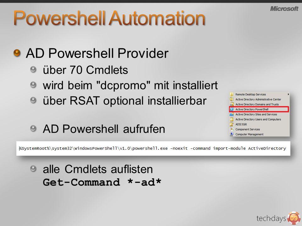 AD Powershell Provider über 70 Cmdlets wird beim