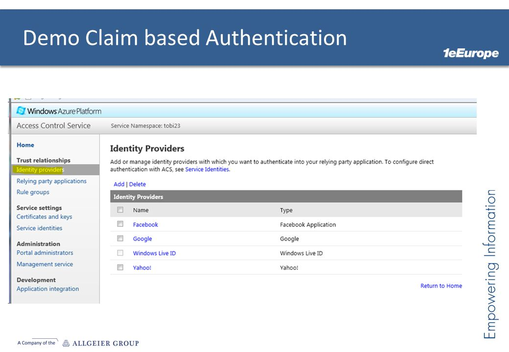 Demo Claim based Authentication