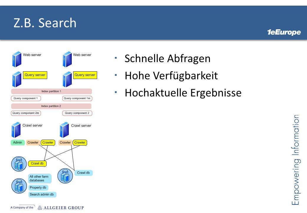 Z.B. Search Schnelle Abfragen Hohe Verfügbarkeit Hochaktuelle Ergebnisse