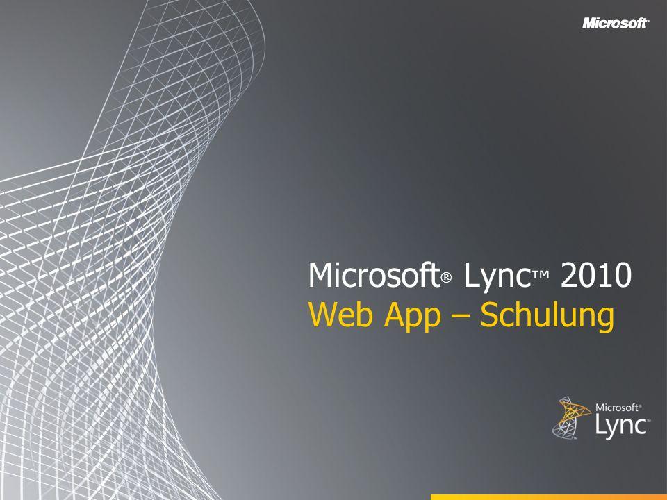 Zielsetzungen Dieser Kurs bietet eine Einführung in Microsoft Lync Web App und befasst sich mit den folgenden Themen: Übersicht über Lync Web App Teilnehmen an Onlinebesprechungen Einladen weiterer Teilnehmer Starten der Anwendungsfreigabe Erstellen von clientseitigen Protokollen Anhang