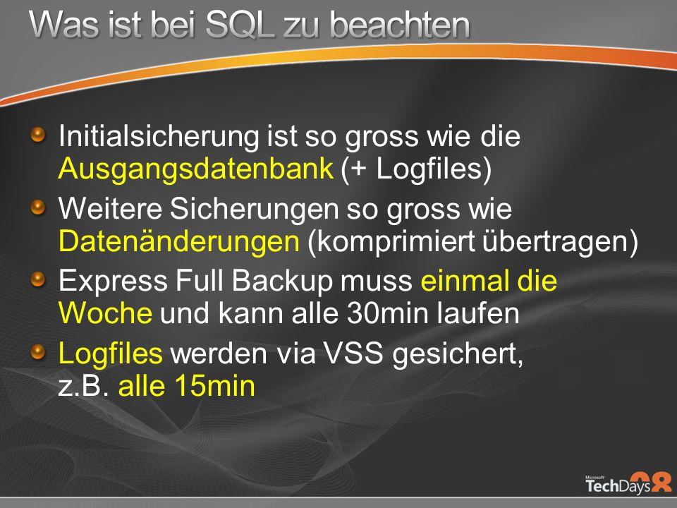 Initialsicherung ist so gross wie die Ausgangsdatenbank (+ Logfiles) Weitere Sicherungen so gross wie Datenänderungen (komprimiert übertragen) Express Full Backup muss einmal die Woche und kann alle 30min laufen Logfiles werden via VSS gesichert, z.B.