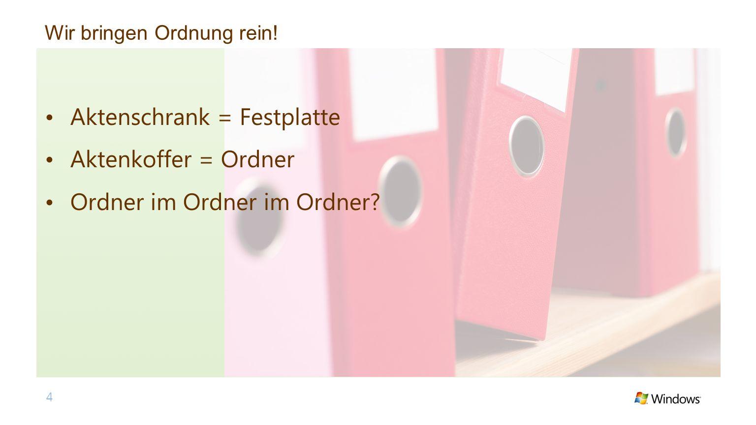 Wir bringen Ordnung rein! 4 Aktenschrank = Festplatte Aktenkoffer = Ordner Ordner im Ordner im Ordner?