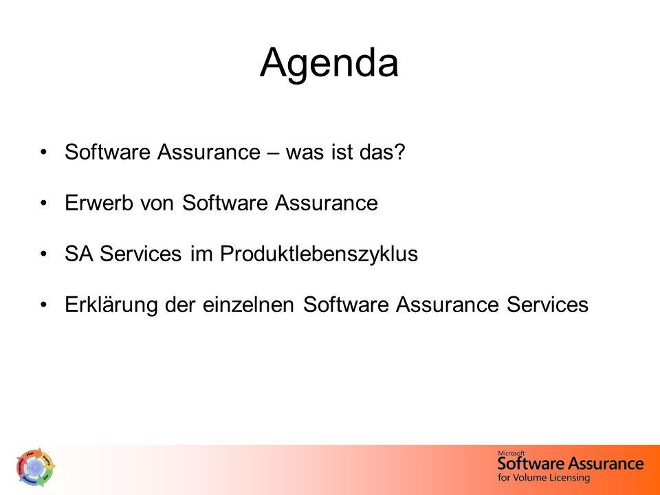 Agenda Software Assurance – was ist das? Erwerb von Software Assurance SA Services im Produktlebenszyklus Erklärung der einzelnen Software Assurance S
