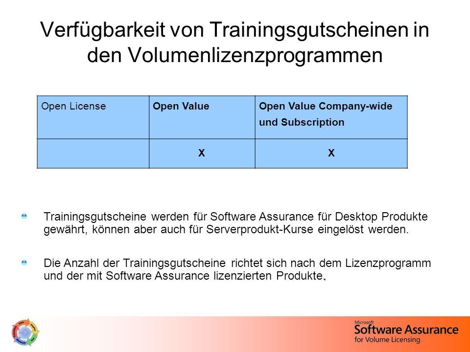 Verfügbarkeit von Trainingsgutscheinen in den Volumenlizenzprogrammen Trainingsgutscheine werden für Software Assurance für Desktop Produkte gewährt,