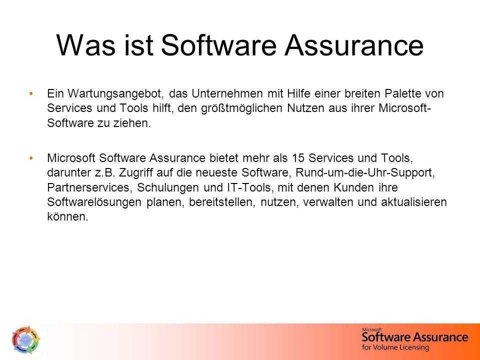 Was ist Software Assurance Ein Wartungsangebot, das Unternehmen mit Hilfe einer breiten Palette von Services und Tools hilft, den größtmöglichen Nutze