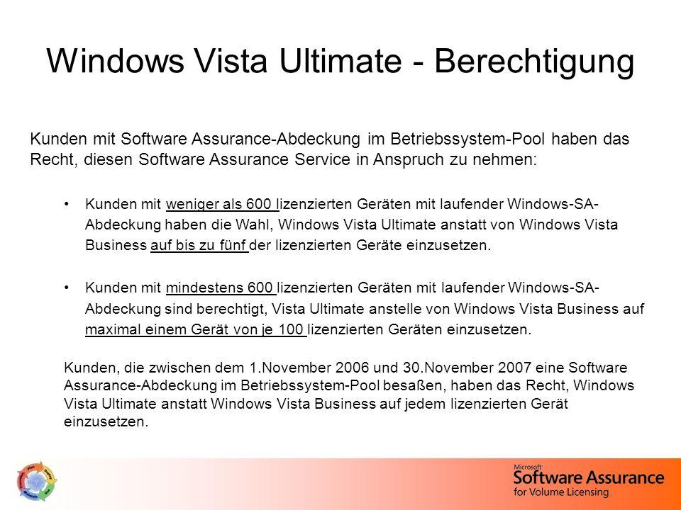 Windows Vista Ultimate - Berechtigung Kunden mit Software Assurance-Abdeckung im Betriebssystem-Pool haben das Recht, diesen Software Assurance Servic