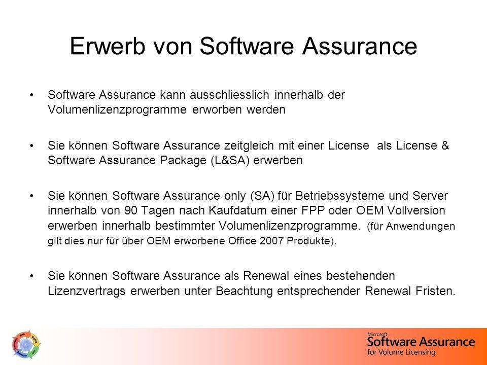 Erwerb von Software Assurance Software Assurance kann ausschliesslich innerhalb der Volumenlizenzprogramme erworben werden Sie können Software Assuran