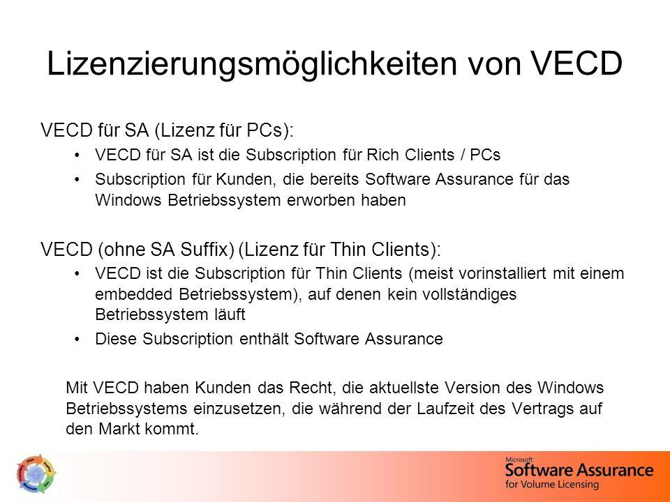 Lizenzierungsmöglichkeiten von VECD VECD für SA (Lizenz für PCs): VECD für SA ist die Subscription für Rich Clients / PCs Subscription für Kunden, die