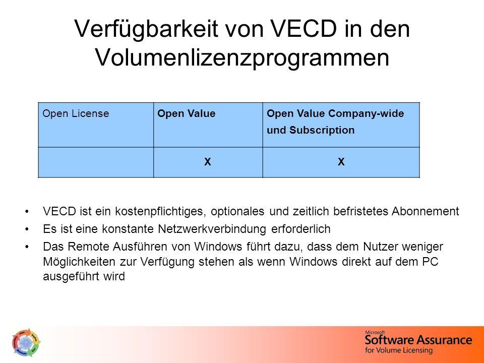 Verfügbarkeit von VECD in den Volumenlizenzprogrammen VECD ist ein kostenpflichtiges, optionales und zeitlich befristetes Abonnement Es ist eine konst