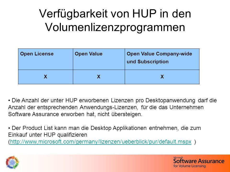 Verfügbarkeit von HUP in den Volumenlizenzprogrammen Open LicenseOpen ValueOpen Value Company-wide und Subscription XXX Die Anzahl der unter HUP erwor
