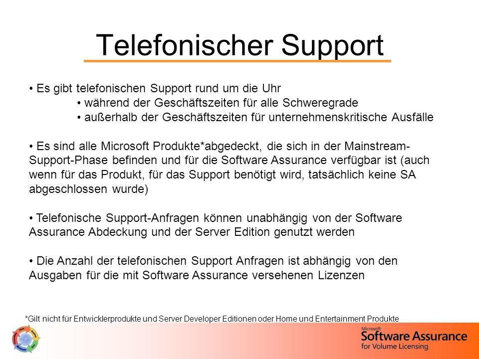Telefonischer Support Es gibt telefonischen Support rund um die Uhr während der Geschäftszeiten für alle Schweregrade außerhalb der Geschäftszeiten fü