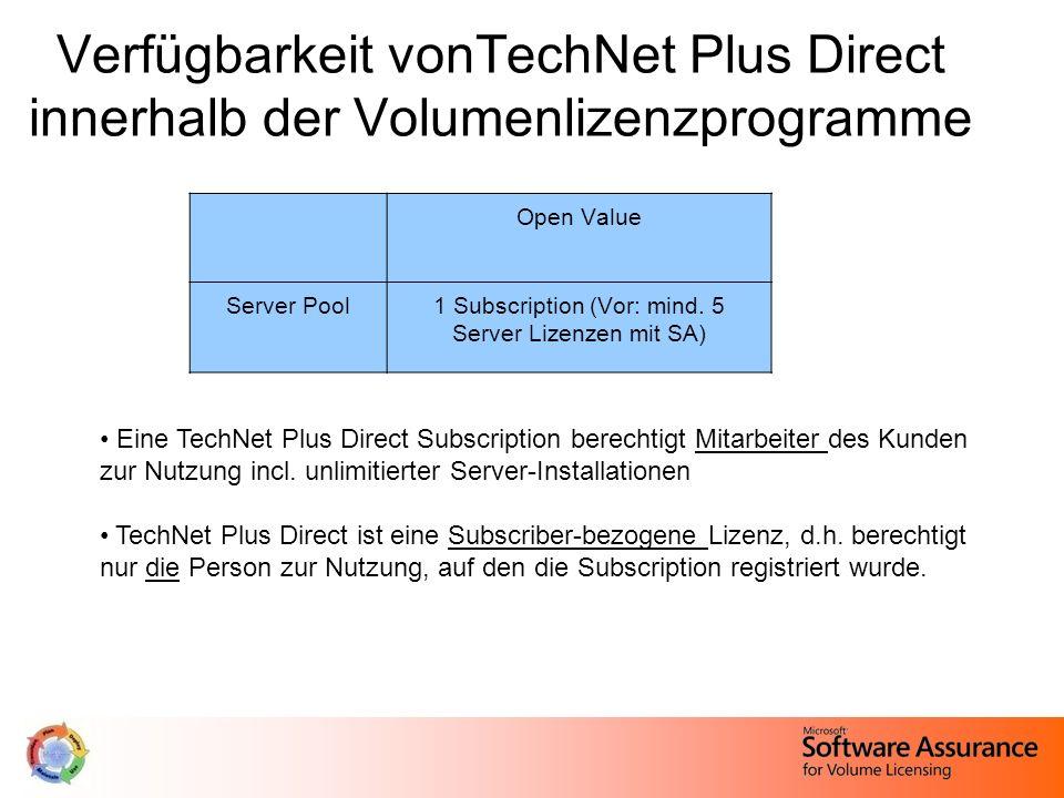 Open Value Server Pool1 Subscription (Vor: mind. 5 Server Lizenzen mit SA) Verfügbarkeit vonTechNet Plus Direct innerhalb der Volumenlizenzprogramme E