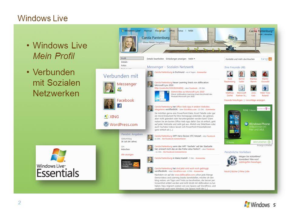 2 Windows Live 2 Windows Live Mein Profil Verbunden mit Sozialen Netzwerken