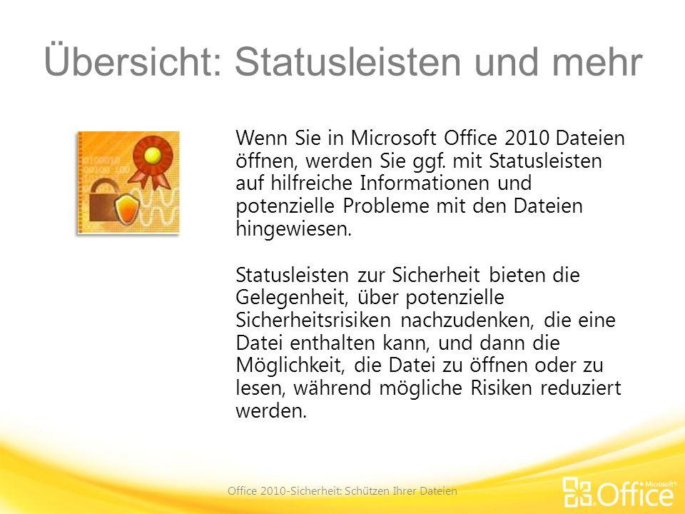 Kursziele Wissen, was aktive Inhalte sind und wie diese in Dateien und Programmen verwendet werden Verwenden der Schaltfläche Inhalt aktivieren auf der Statusleiste, um zuzulassen, dass aktive Inhalte ausgeführt werden Arbeiten mit aktiven Inhalten in der Microsoft Office Backstage-Ansicht Vermitteln, was vertrauenswürdige Dokumente sind Office 2010-Sicherheit: Schützen Ihrer Dateien