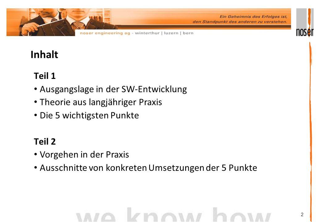 2 Inhalt Teil 1 Ausgangslage in der SW-Entwicklung Theorie aus langjähriger Praxis Die 5 wichtigsten Punkte Teil 2 Vorgehen in der Praxis Ausschnitte von konkreten Umsetzungen der 5 Punkte