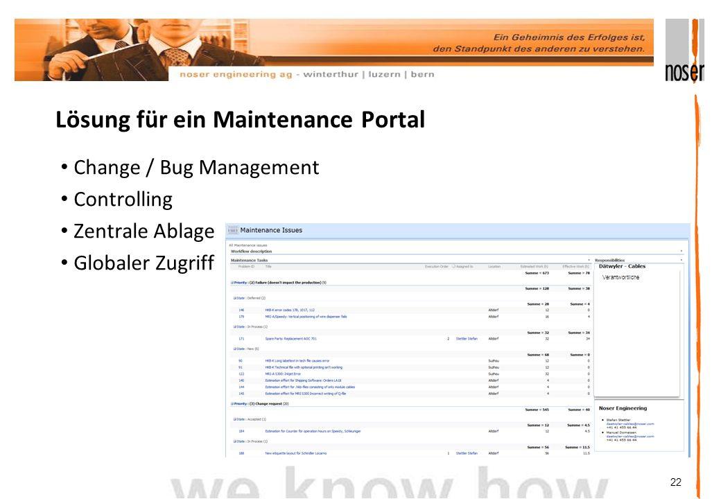 22 Lösung für ein Maintenance Portal Change / Bug Management Controlling Zentrale Ablage Globaler Zugriff Verantwortliche