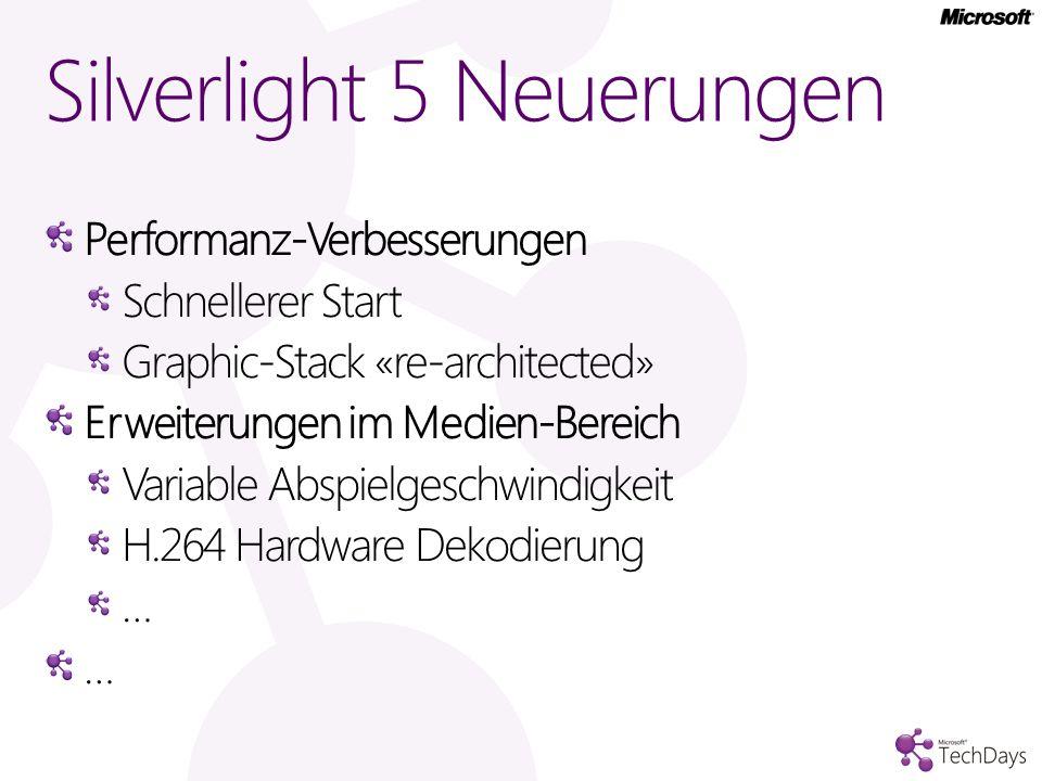 Performanz-Verbesserungen Schnellerer Start Graphic-Stack «re-architected» Erweiterungen im Medien-Bereich Variable Abspielgeschwindigkeit H.264 Hardware Dekodierung … Silverlight 5 Neuerungen