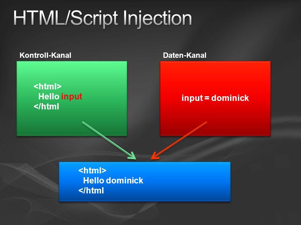 Kontroll-KanalDaten-Kanal Hello input </html input = dominick Hello dominick </html