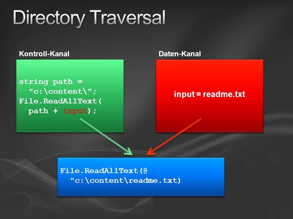 Kontroll-KanalDaten-Kanal string path = c:\content\ ; File.ReadAllText( path + input); input = readme.txt File.ReadAllText(@ c:\content\readme.txt)