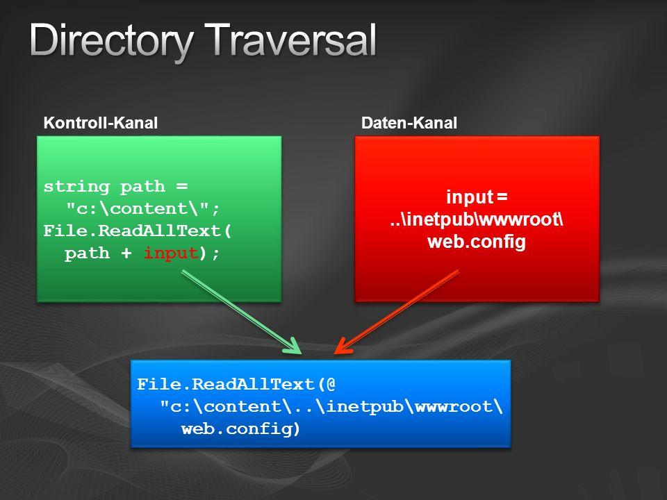 Kontroll-KanalDaten-Kanal string path = c:\content\ ; File.ReadAllText( path + input); input =..\inetpub\wwwroot\ web.config File.ReadAllText(@ c:\content\..\inetpub\wwwroot\ web.config)