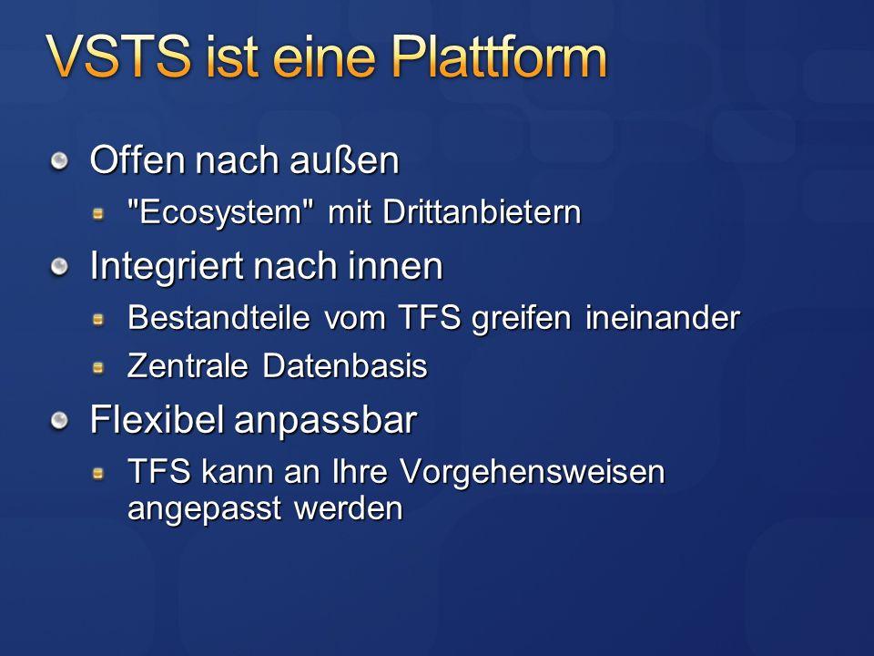 Offen nach außen Ecosystem mit Drittanbietern Integriert nach innen Bestandteile vom TFS greifen ineinander Zentrale Datenbasis Flexibel anpassbar TFS kann an Ihre Vorgehensweisen angepasst werden