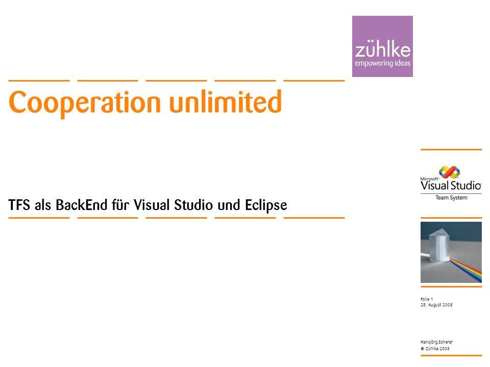Cooperation unlimited © Zühlke 2008 25. August 2008 Hansjörg Scherer Folie 1 Cooperation unlimited TFS als BackEnd für Visual Studio und Eclipse