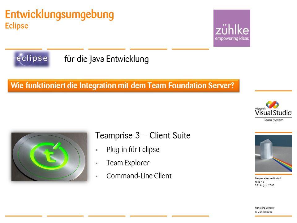 Cooperation unlimited © Zühlke 2008 Entwicklungsumgebung Eclipse für die Java Entwicklung 25.