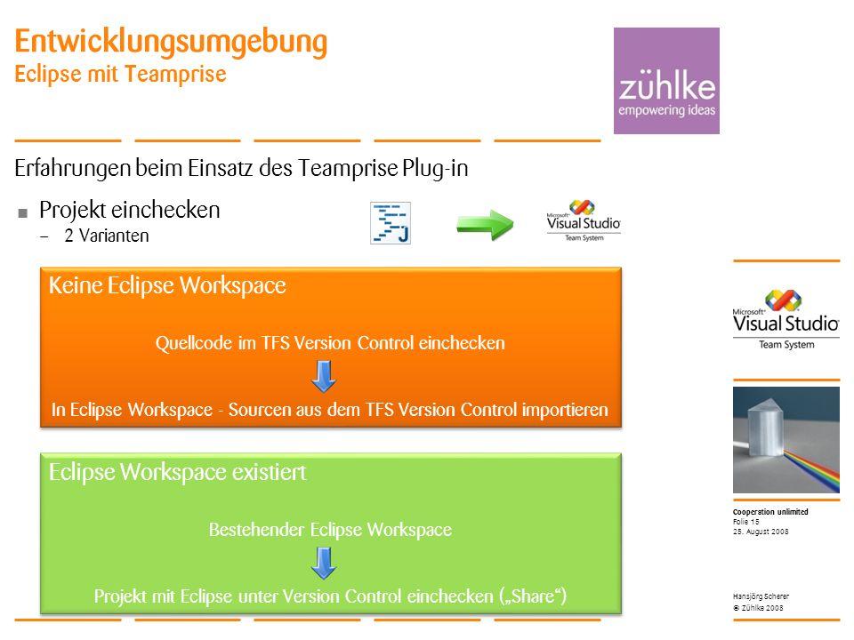 Cooperation unlimited © Zühlke 2008 Entwicklungsumgebung Eclipse mit Teamprise Erfahrungen beim Einsatz des Teamprise Plug-in Projekt einchecken – 2 Varianten 25.