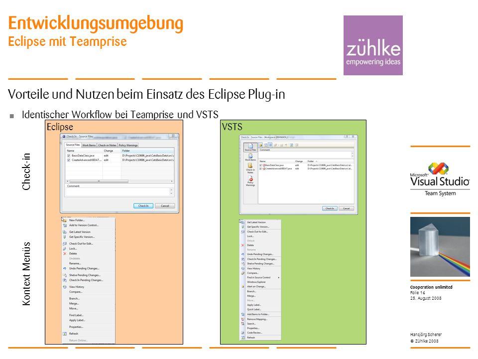 Cooperation unlimited © Zühlke 2008 Vorteile und Nutzen beim Einsatz des Eclipse Plug-in Identischer Workflow bei Teamprise und VSTS VSTSEclipse Entwicklungsumgebung Eclipse mit Teamprise 25.