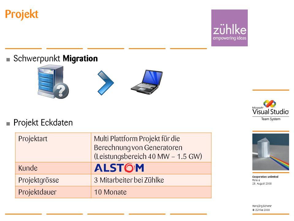 Cooperation unlimited © Zühlke 2008 Schwerpunkt Migration Projekt Eckdaten Projekt 25.