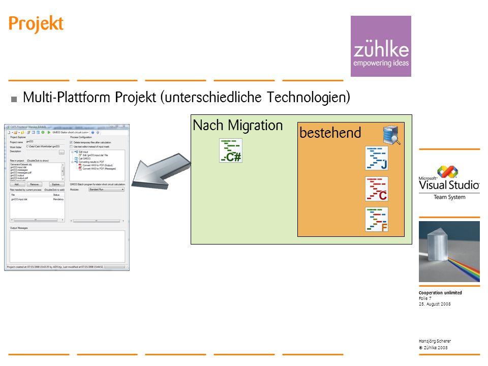 Cooperation unlimited © Zühlke 2008 Multi-Plattform Projekt (unterschiedliche Technologien) 25. August 2008 Hansjörg Scherer Folie 7 Projekt Nach Migr