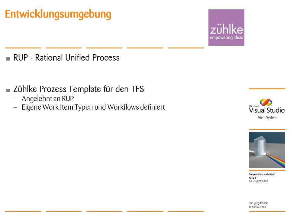 Cooperation unlimited © Zühlke 2008 Entwicklungsumgebung RUP - Rational Unified Process Zühlke Prozess Template für den TFS – Angelehnt an RUP – Eigene Work Item Typen und Workflows definiert 25.