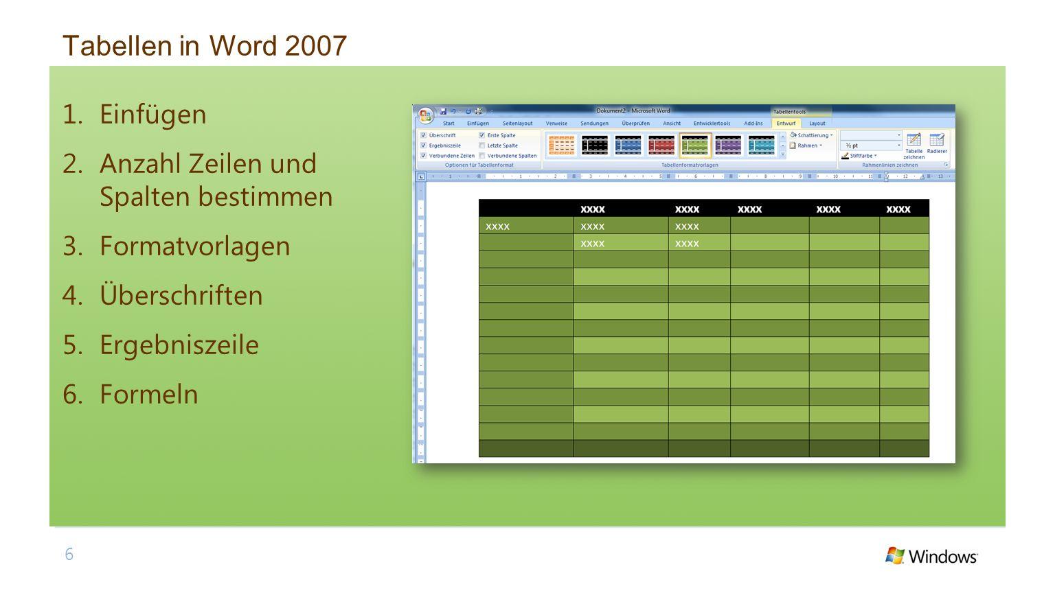 Tabellen in Word 2007 1.Einfügen 2.Anzahl Zeilen und Spalten bestimmen 3.Formatvorlagen 4.Überschriften 5.Ergebniszeile 6.Formeln 6
