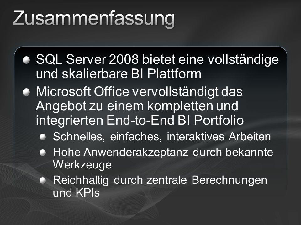 Microsoft Business Intelligence http://www.microsoft.com/sql/2008/solutions/bi.mspx http://www.microsoft.com/sql/2008/solutions/bi.mspx SQL Server 2008 http://www.microsoft.com/sql/2008/default.mspx http://www.microsoft.com/sql/2008/default.mspx Hintergrundinformationen zu SQL Server 2008: Webcasts, Virtual Labs und White Papers http://www.microsoft.com/sql/2008/learning/default.mspx http://www.microsoft.com/sql/2008/learning/default.mspx SQL Server 2008 Training http://www.microsoft.com/learning/sql/2008/default.mspx http://www.microsoft.com/learning/sql/2008/default.mspx Download des aktuellen SQL Server CTP http://www.microsoft.com/sql/2008/prodinfo/download.mspx http://www.microsoft.com/sql/2008/prodinfo/download.mspx Werden Sie Mitglied der SQL PASS Community http://www.sqlpass.de