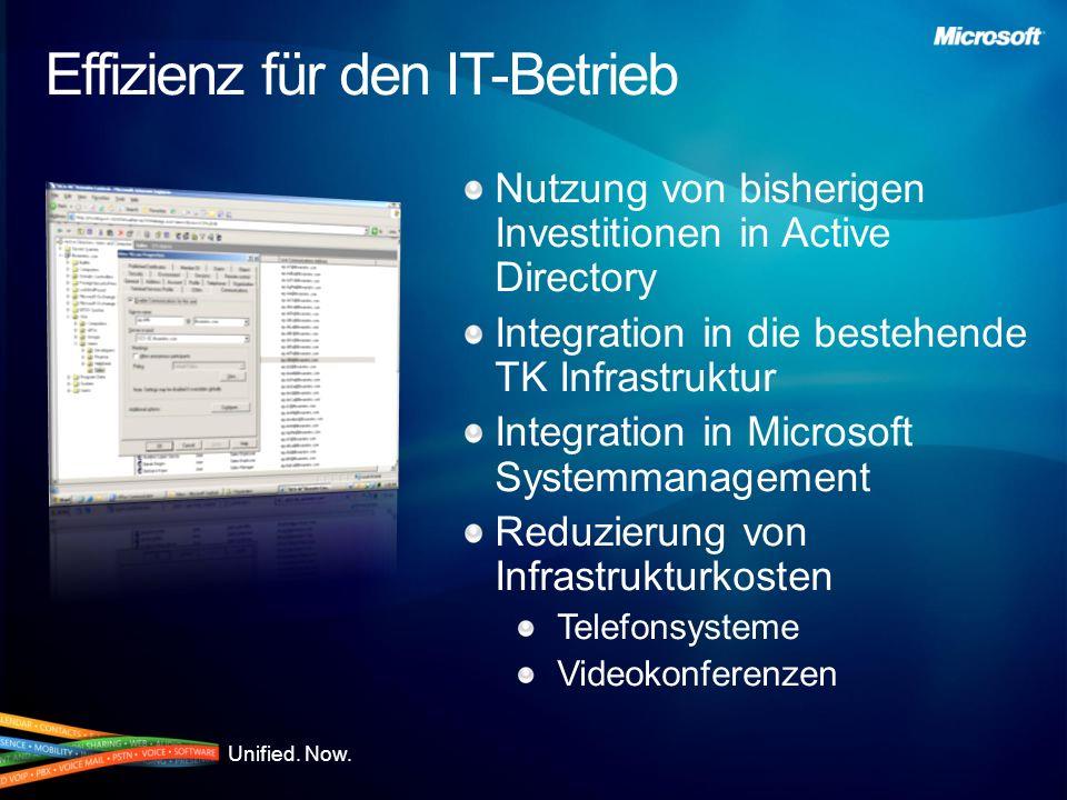 Unified. Now. Effizienz für den IT-Betrieb Nutzung von bisherigen Investitionen in Active Directory Integration in die bestehende TK Infrastruktur Int