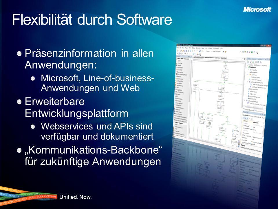 Unified. Now. Flexibilität durch Software Präsenzinformation in allen Anwendungen: Microsoft, Line-of-business- Anwendungen und Web Erweiterbare Entwi