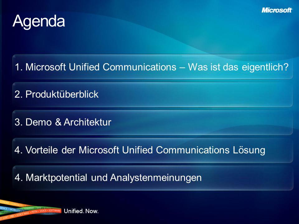 1. Microsoft Unified Communications – Was ist das eigentlich? 2. Produktüberblick 3. Demo & Architektur 4. Vorteile der Microsoft Unified Communicatio